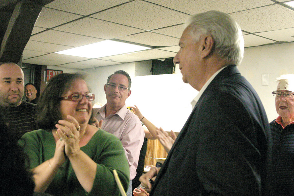 DOUBLE THE EXCITEMENT: Ward 3 Councilwoman Camille Vella-Wilkinson and Ward 8 candidate Joseph Gallucci were victorious in the primary race, beating out Paul Machado and Luis Aponte Jr., respectively. The Democratic duo shares the same headquarters on Jefferson Boulevard, where they celebrated their wins.