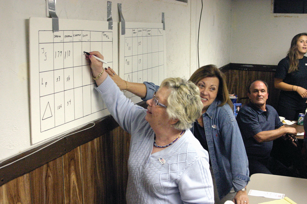 TALLY IT UP: Judy Goodman and Robbie Babigian transcribe votes at Vella-Wilkinson/Gallucci headquarters.
