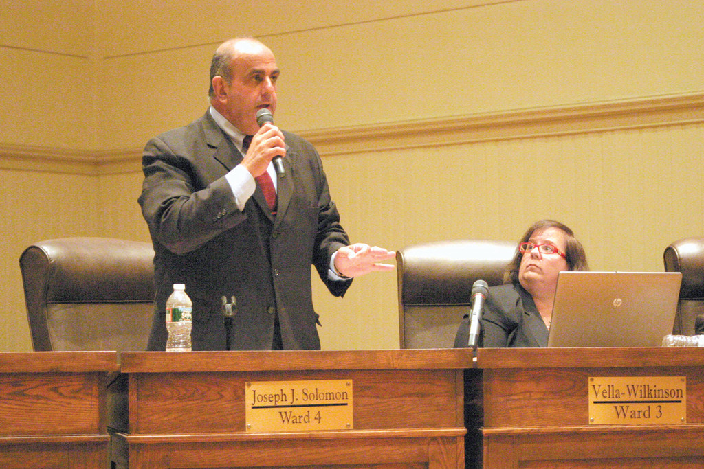 SCRAP VALUE: Ward 4 Councilman Joseph Solomon argued that the council would generate more funds for the City of Warwick if 39 obsolete school department vehicles are sold for scrap value, as opposed to selling them to the highest bidders. A majority of the council agreed, as they voted 1-8 to reject the bid.
