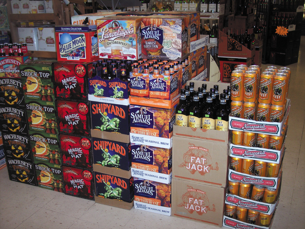 This fall, come check out Airport Liquors' top-ranked seasonal beers such as Shipyard's Pumpkinhead Ale and Samuel Adams Harvest Collection.