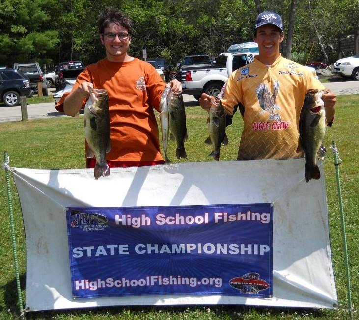 State champs Pat Crabtree and Chris Catucci of Bishop Hendricken High School are getting ready for the freshwater fishing High School Eastern Conference Championship in Virginia on Sept. 15. Pat and Chris, shown here, as they finished first in the state of Rhode Island with a largemouth bass five-fish limit weight of 14.5 pounds.