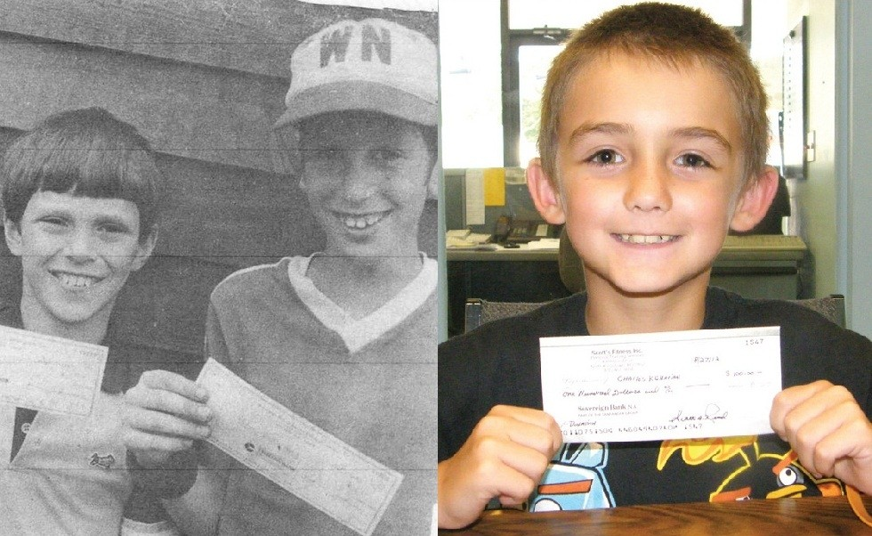 "THEN AND NOW: At left, Scott Read (right) shows off a check donated by an anonymous ""good fairy"" to replace bikes that were stolen from him and his friend, Bobby Sousa (left). At the time, Read and Sousa were 12; today they are 39. At right, Charlie Kebarian, 9, holds a check donation from Scott Read, who paid forward the good deed from nearly 30 years ago. Kebarian's go kart was stolen from his backyard last month."