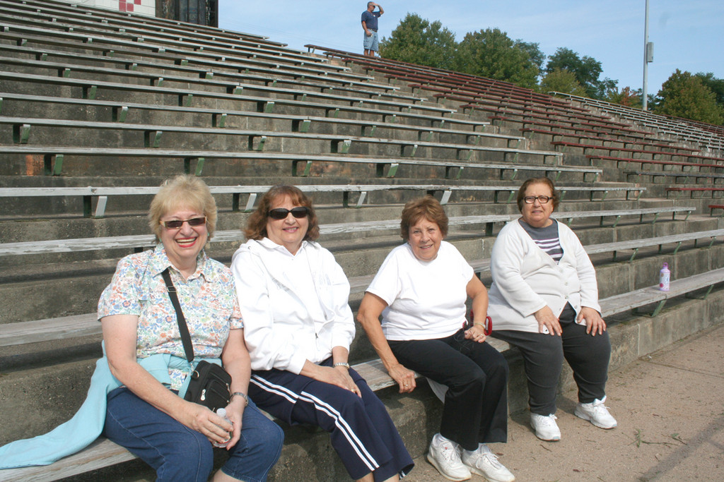 TAKING A BREAK: Catching their breath after a few laps are Fran Mancini, Rose Parrillo, Barbara Calitri and Susie Tashian. The women are all participants in the Cranston Senior Center's Walk with Ease Program, run by the Arthritis Foundation.