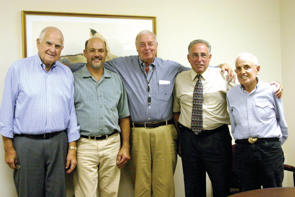 GENERATIONS OF FRIENDS: Steve Kass, the executive director of Big Brothers of Rhode Island, stands at center. He said half of Big Brother pairings only last about a year. But for these Big and Little Brothers, the friendships have lasted a lifetime. They are, from left, Arthur Robbins, 80, Mark DeFarias, 53, Steve Levitt, 60, and Don Robbins, 77.