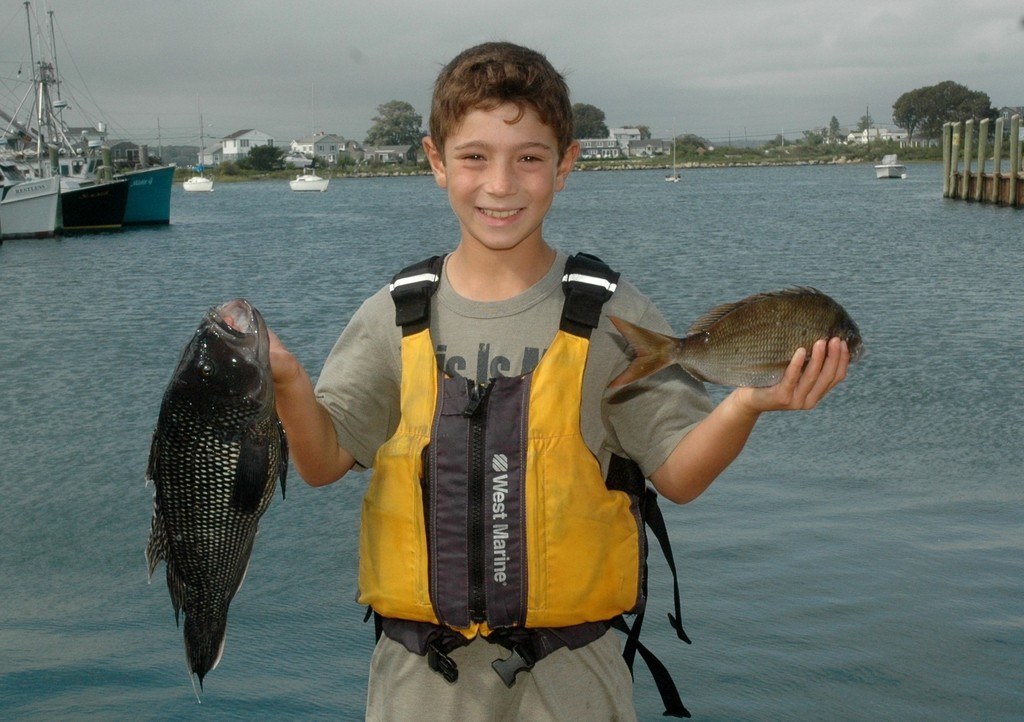 Most trophies:  Joey Scrofani of Wakefield with two nice fish…a black sea bass (left, 3.60 lbs.) that took 1st place in the Junior Division and scup (right). Joey also took home the 1st place trophy for the largest Junior Division bluefish at 6.40 lbs.