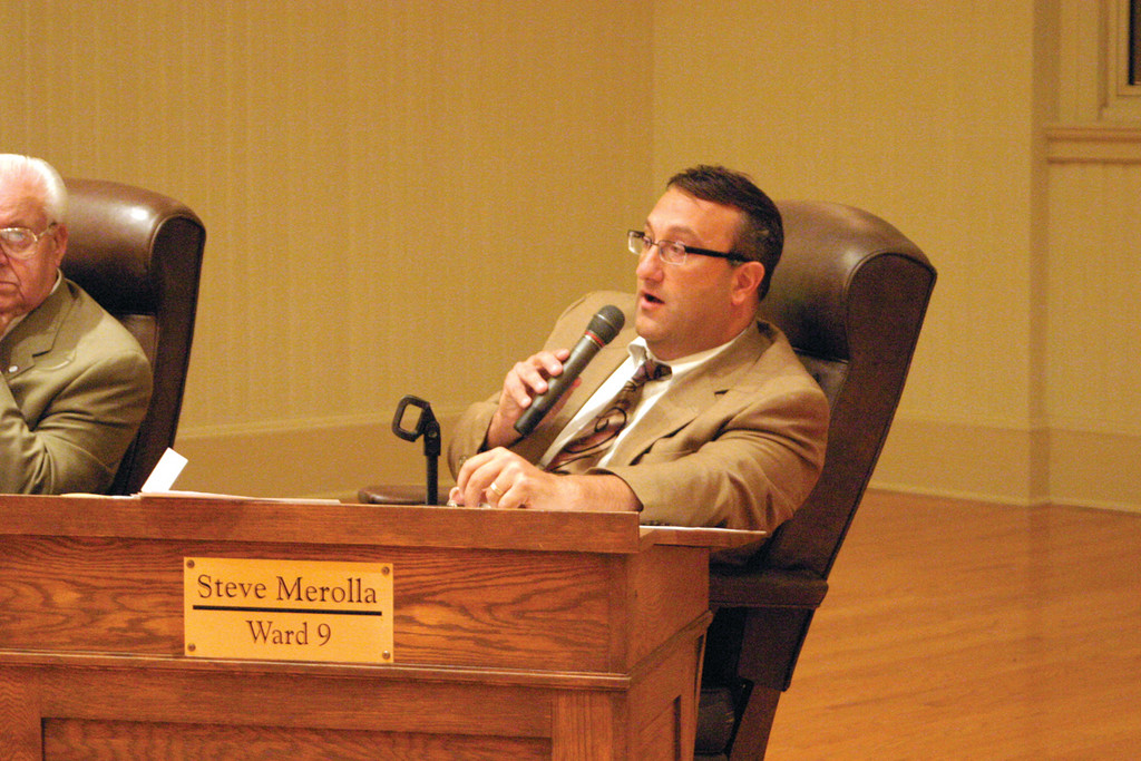 VETO SUSTAINED: Ward 9 Councilman Steven Merolla addresses the rest of the council about an ordinance that would have required actuaries to report to the council concerning annual contributions to the city's retirement health care contribution.