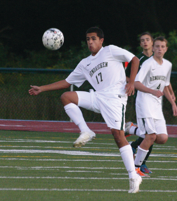 SETTLE: Hendricken's Brandon Silvestri gets in front of the ball on Thursday. Silvestri's goal sparked a 1-0 win.