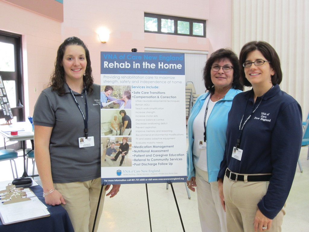 CONDUCTING SCREENINGS: Members of the VNA of Care New England Rehabilitation Team conducted balance and gait screenings as part of the Fall Prevention Awareness Event held Friday afternoon at the Pilgrim Senior Center in Warwick. Pictured from left are: Sarah Lovegreen, MPT; Mary Carpenter, PTA; and Jennifer Lee, MSPT, manager of  Rehab Services VNA of Care New England.