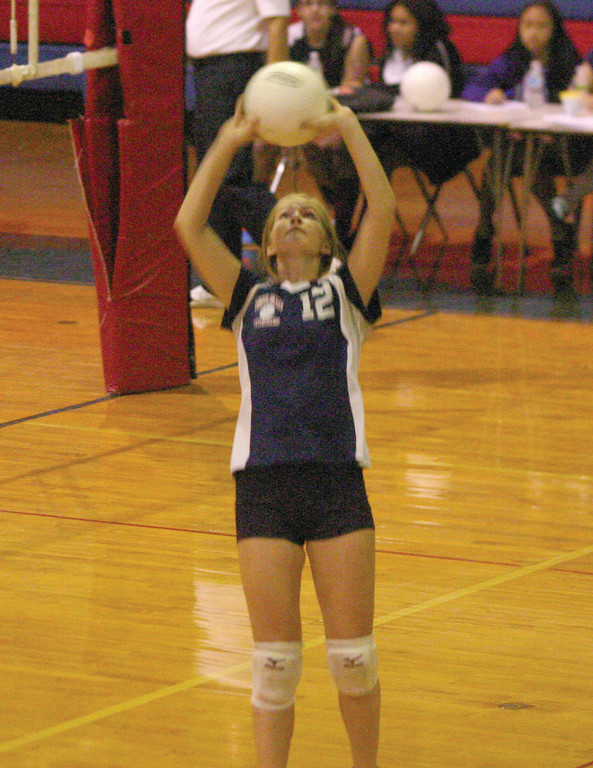 RIGHT SPOT: Toll Gate's Jamie Lavoie sets a ball on Monday.