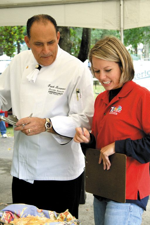 "NBC 10 Chef Frank Terranova is pictured during a past Apple Pie Competition, which he judged alongside Dylan Dreyer, a former NBC 10 meteorologist who now works for the ""Today Show"" as their weekend weather anchor."