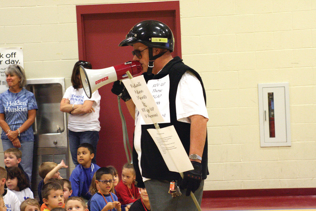 REVVING UP SCORES: Principal Rassler didn't need his motorcycle to get kids into the mood for the NECAP rally, although there were suggestions he bring it in the all-purpose room.