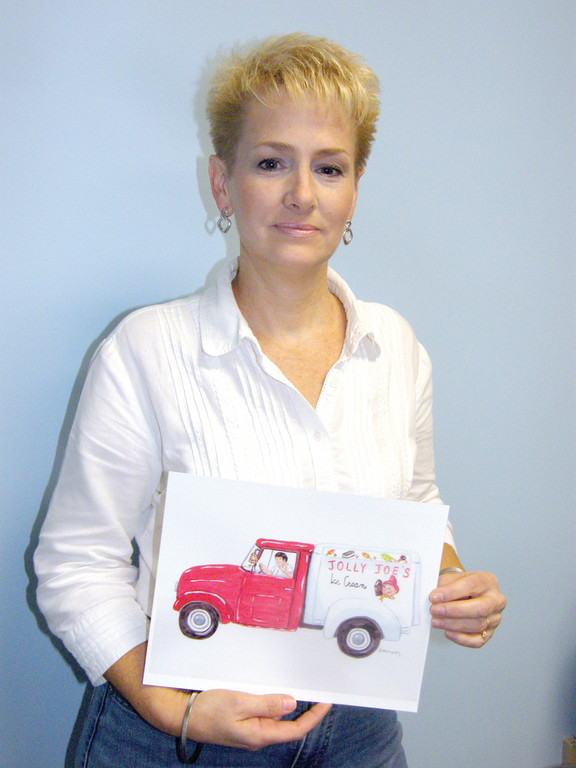 ARTIST AND AUTHOR: Cheryl McNulty wrote a story about Jolly Joe the Ice Cream Man, a real ice cream truck driver from her childhood in Warwick in the 1960s. McNulty hopes to publish the book and connect with others who remember Jolly Joe. Here, McNulty holds her painting of the way she recollects Jolly Joe�s ice cream truck.