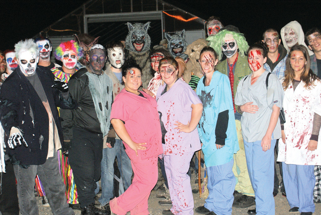 SAY BOO: Pictured is the cast of Scary Acres at Confreda Farms, open now through Oct. 28.