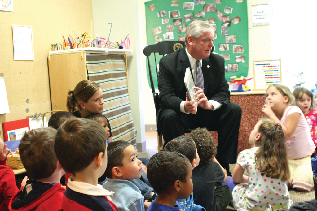 ON THE CAMPAIGN TRAIL: Mayor Scott Avedisian stopped in to read to the kids at the Imagine Playschool at CCRI Friday between meetings.