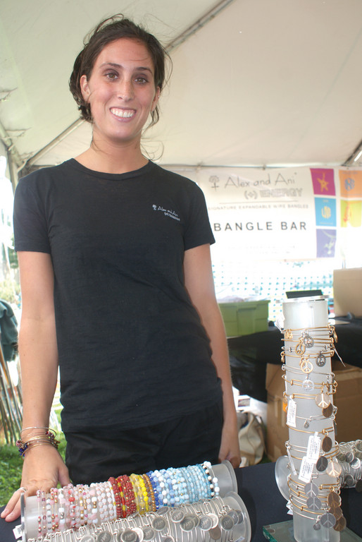 BANGLE BAR: Alexandra Barbolla of Alex & Ani sets up a Bangle Bar where 20 percent of proceeds from sales went to the Breast Cancer Resource Foundation.