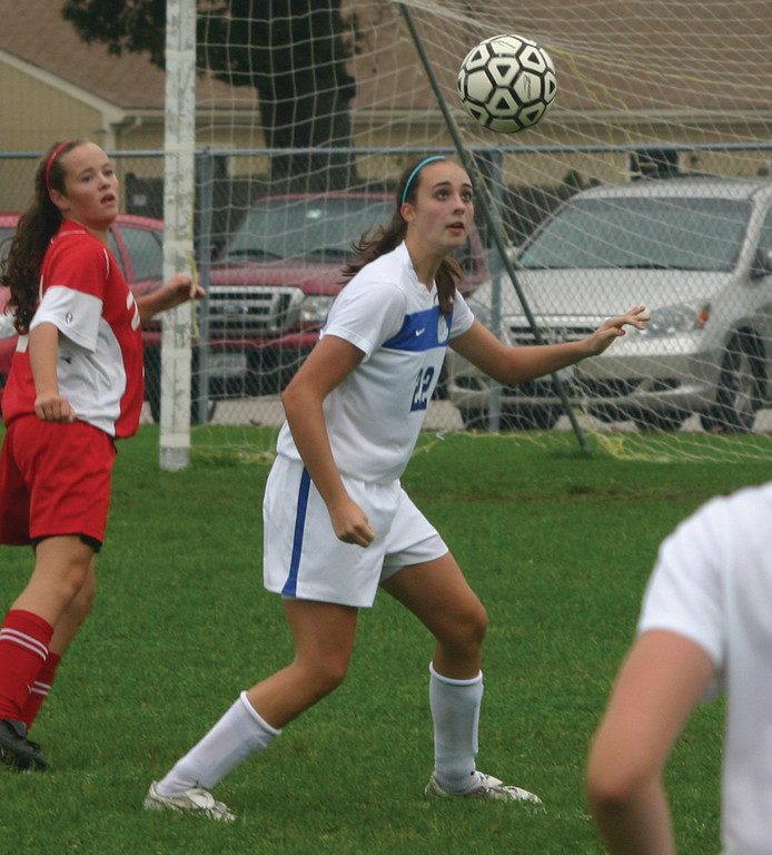 EYE ON IT: Vets' Emily Almonte gets under a bouncing ball in Thursday's game against Cranston West.