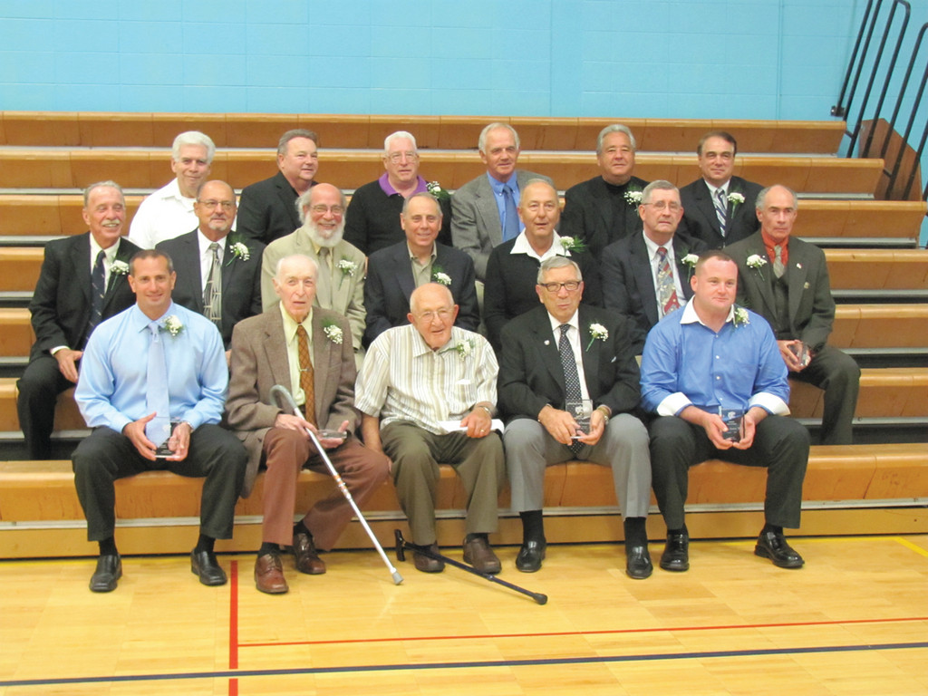 This is the Johnston High School Athletic Hall of Fame Class of 2012 that was inducted during Saturday evening's ceremony inside the Edward L. DiSimone Gymnasium.