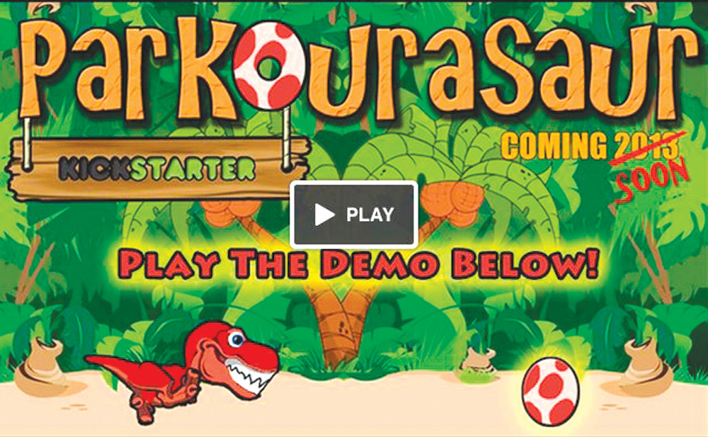 "NOT EXTINCT: John Groh and Corey King, two New England Institute of Technology students, raised $7,000 online to fund a new video game they're creating called ""Parkourasaur."" The game is set to be released in late November."