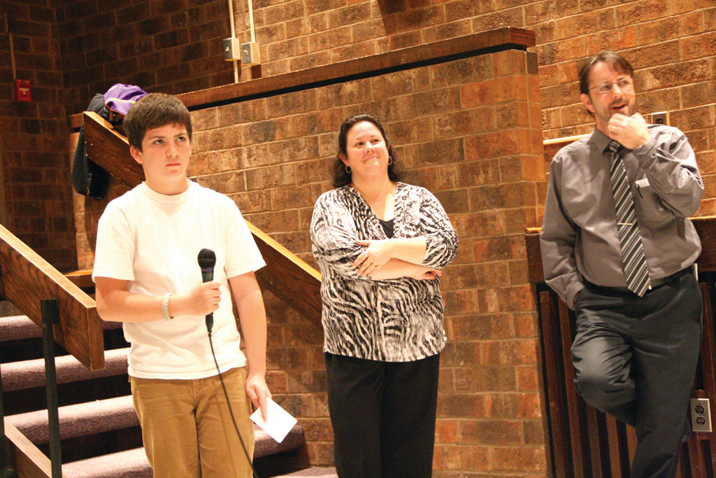 ADDRESSING THE MAYOR: Jarad {* ok *} Forrest was one of about a dozen Winman students who asked questions of Mayor Avedisian. Looking on, are teachers Julie Connors-Costello and Jon Pratt.