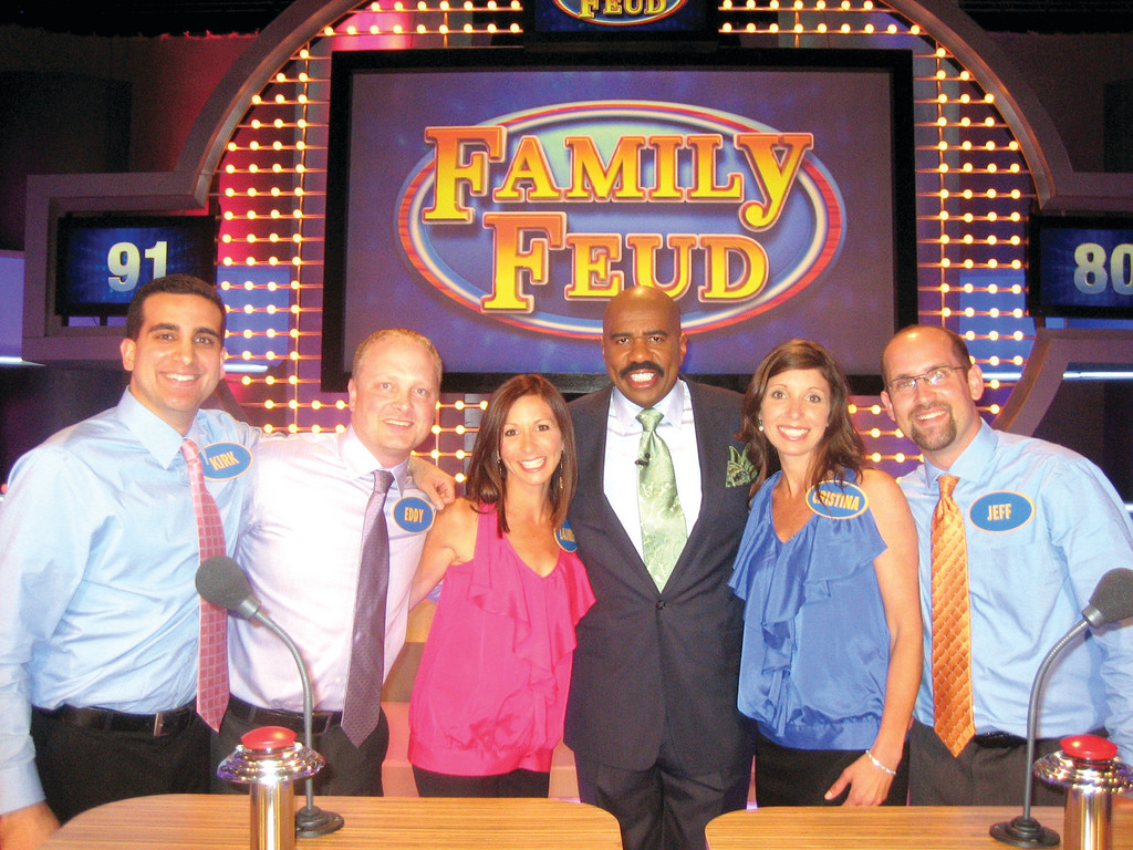 The Samsel family of Warwick with 'Family Feud' host Steve Harvey.