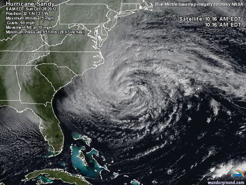 SHE'S A BIG ONE: Satellite image of Hurricane Sandy, which has a 500-mile radius.