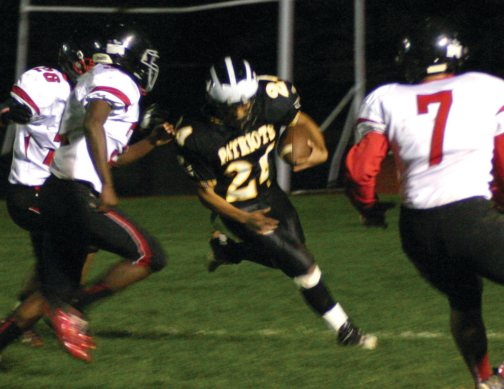 ON THE OFFENSIVE: Pilgrim's Davien Brown looks for running room on the edge.