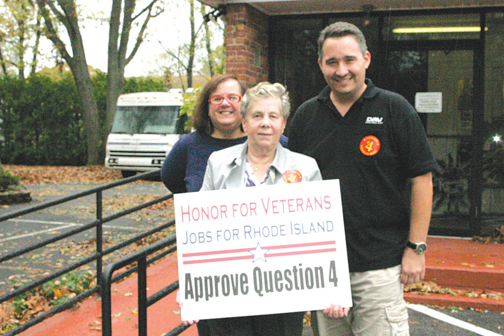 QUESTION 4: Military veterans such as Ward 3 Councilwoman Camille Vella-Wilkinson (left), Ginny Hanson and Timothy Howe are hoping for the approval of Question 4, which involves the remodeling and erection of the Rhode Island Veterans Home located in Bristol.