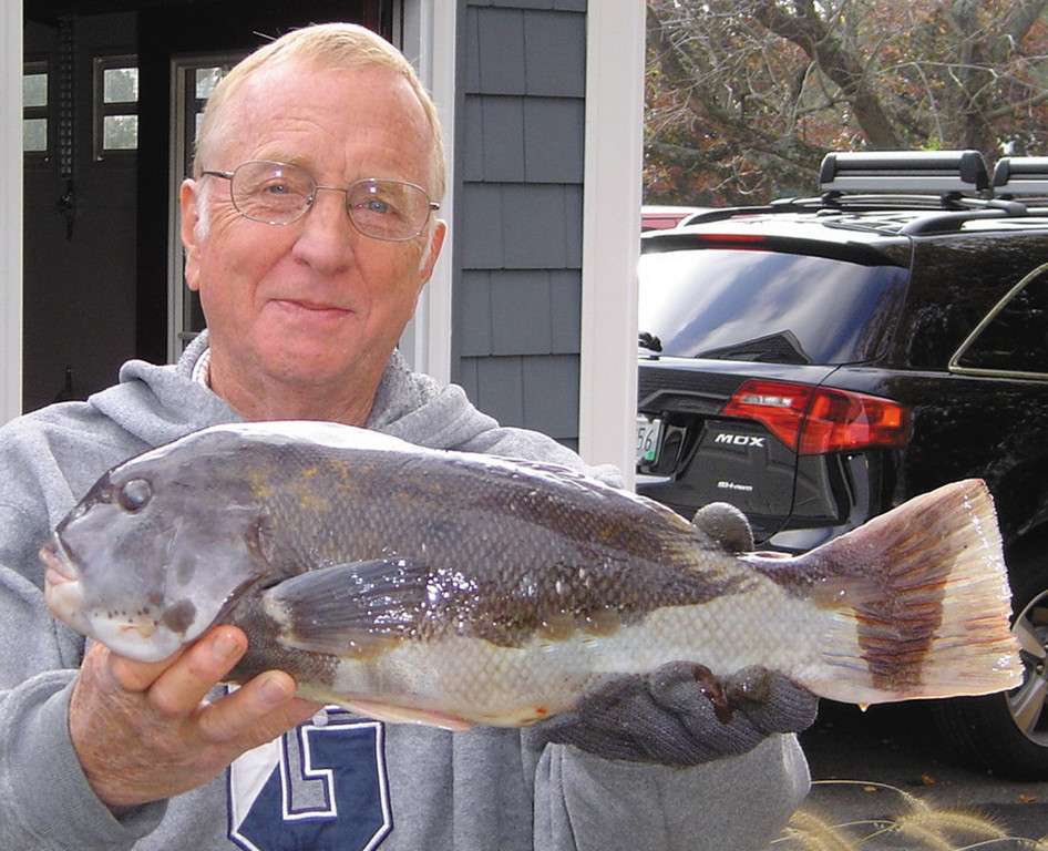 First tautog: Michael Weaver of Plymouth, New Hampshire, with his first tautog caught while fishing with Captain Dave Monti in North Kingstown.  The tautog was 21 inches and weighed about 7.5 pounds.