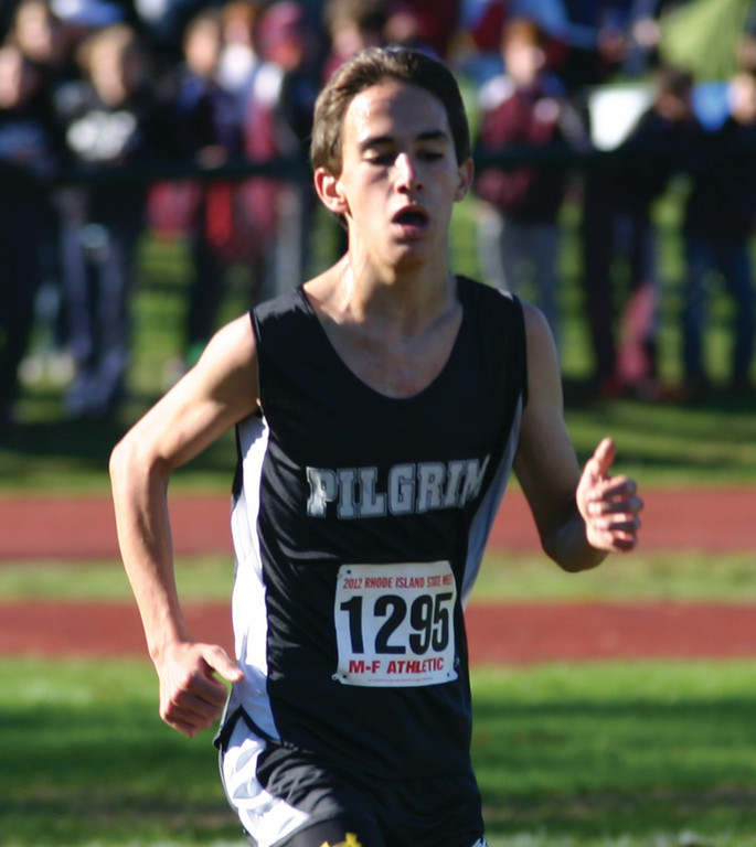 GOING STRONG: Pilgrim's Brandon Lawton heads for the finish line.