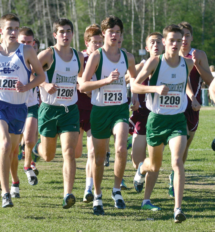 TAG TEAM: Hendricken's Alex Doherty, Colin Tierney and Connor Doyle lead a pack at Sunday's cross country state meet. The Hawks used their depth to win their fifth straight championship. Doyle was Hendricken's top finisher.