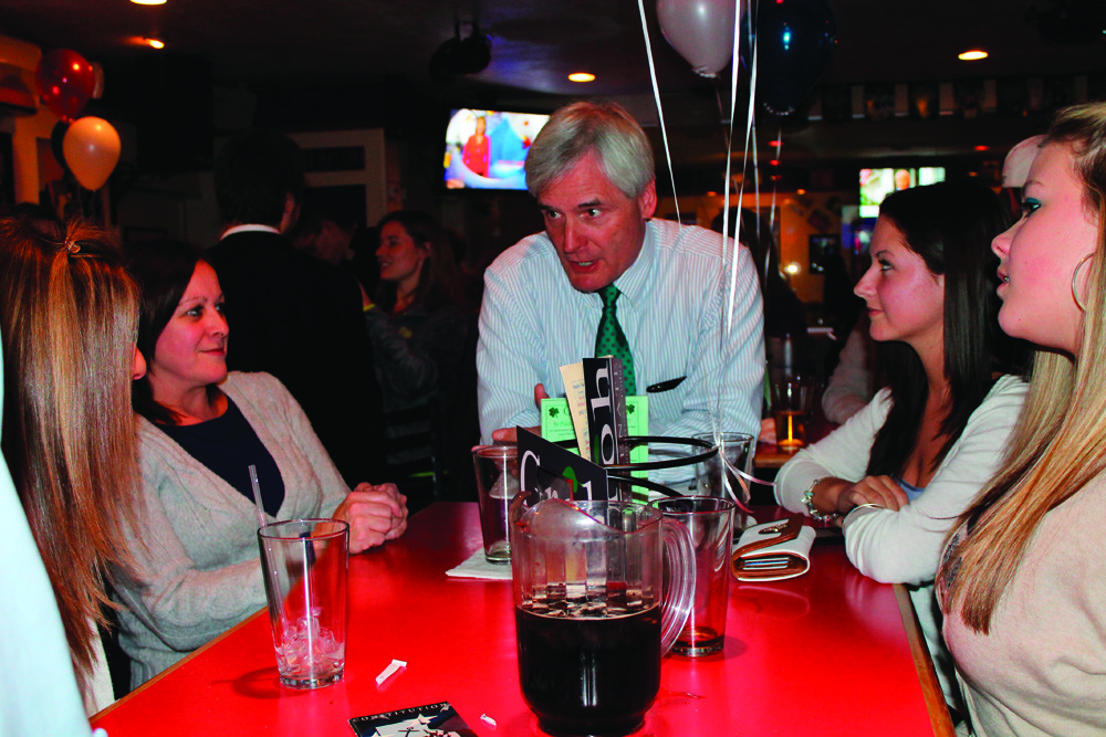 "THANKS FOR THE SUPPORT: Even after the results came in, independent candidate for Senate Dist. 30 Arthur ""Jack"" Groh was in a good mood. Here, he thanks a table gathered at Picasso's Pizza for their support in his campaign."
