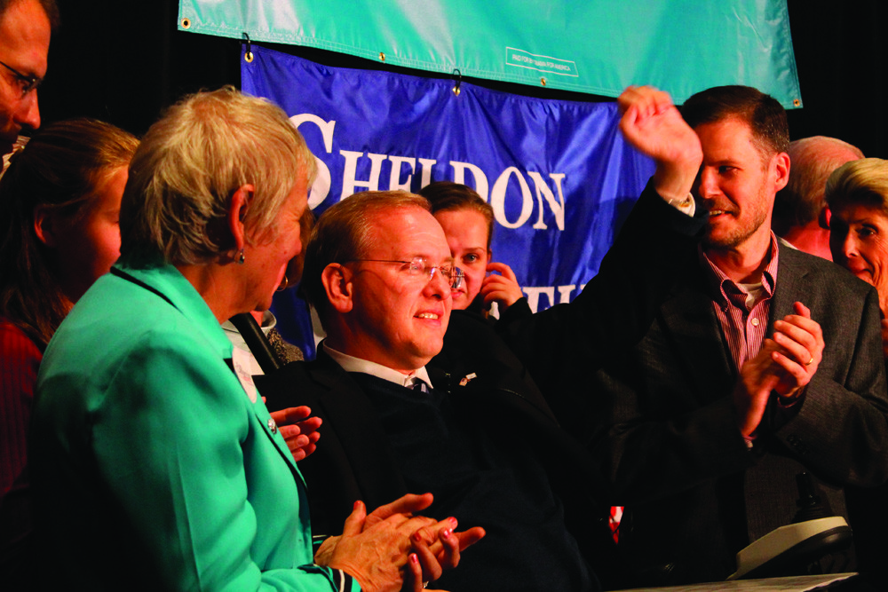 PROUD WINNER: Congressman Jim Langevin beat out challenger Michael Riley to retain the seat he has held since 2000.