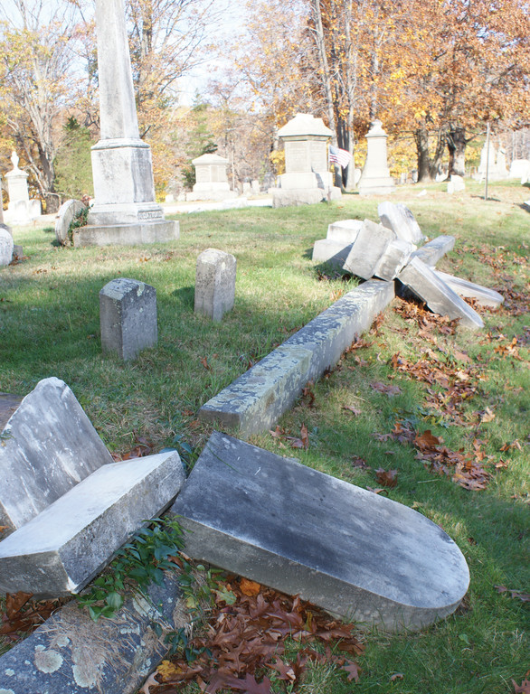 DAMAGE REPORT: Photographed is just part of the damage at the historical Pocasset Cemetery. The cemetery has been open since 1732.
