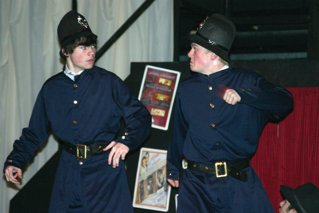 TOP COPS? Dane Granja and Brendan McNamara do a bit of slapstick as two policemen in �The 39 Steps.�