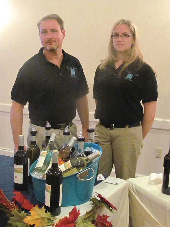 Steven and Sheri O'Connor, who own Nickle Creek Vineyard of Foster, added a special touch to the North Central Chamber of Commerce's 30th anniversary in the form of a wine tasting.