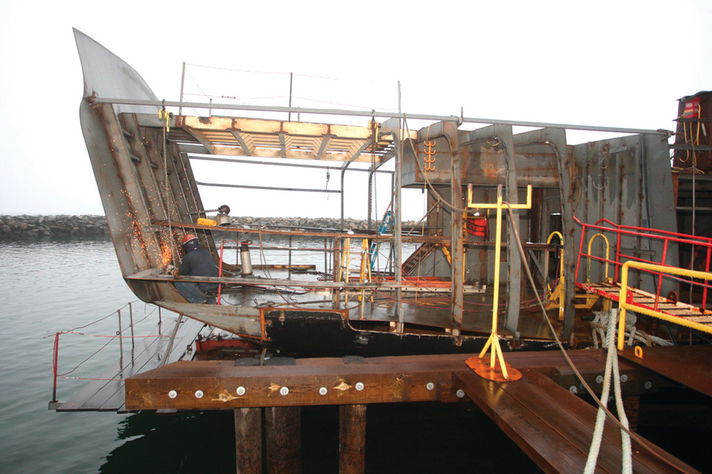 WAITING TO GET DECKED: The hull of the SSV Oliver Hazard Perry was built by a Canadian historical society who hoped to build a replica of the HMS Detroit, one of the ships captured by Oliver Hazard Perry during the battle of Lake Erie in the War of 1812.
