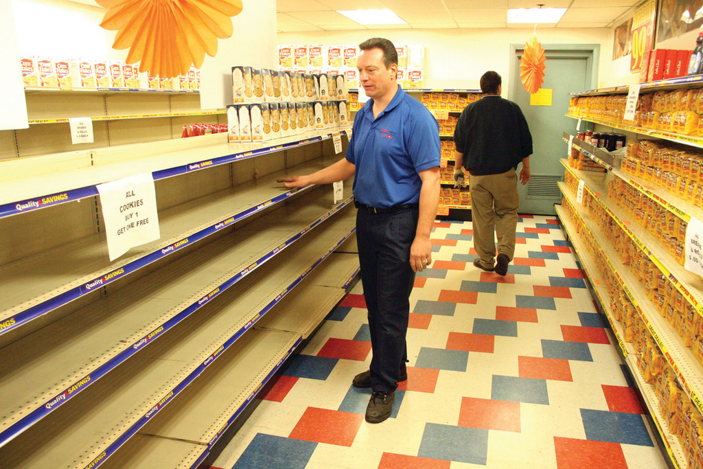 Bare shelves in the Hostess Wonder Outlet in Warwick.