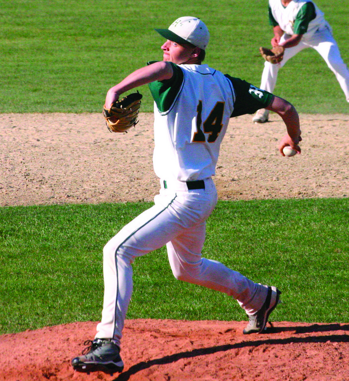 BRINGING IT: Hendricken's Mike King makes a pitch in a game last spring. King, now a senior, has signed on to continue his baseball career at Boston College.