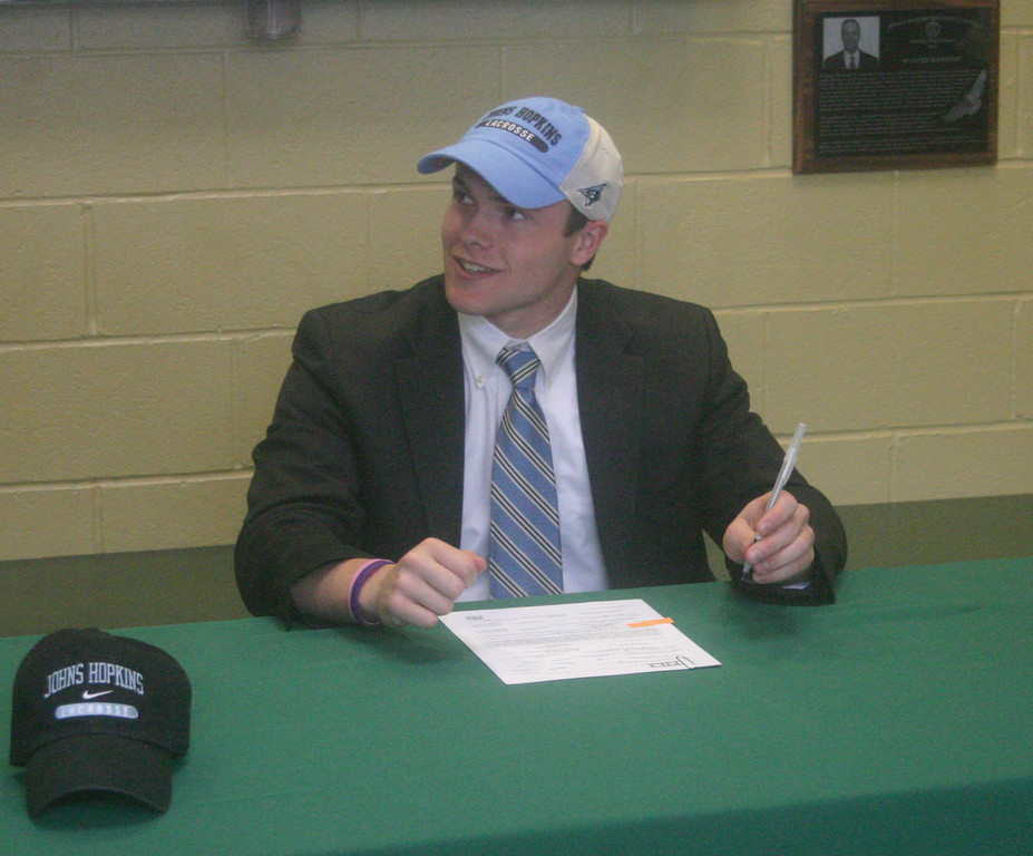 COMMITTED: Hendricken standout Alex Perreault signed a letter of intent on Friday to continue his lacrosse career at Johns Hopkins University in Baltimore, Md.