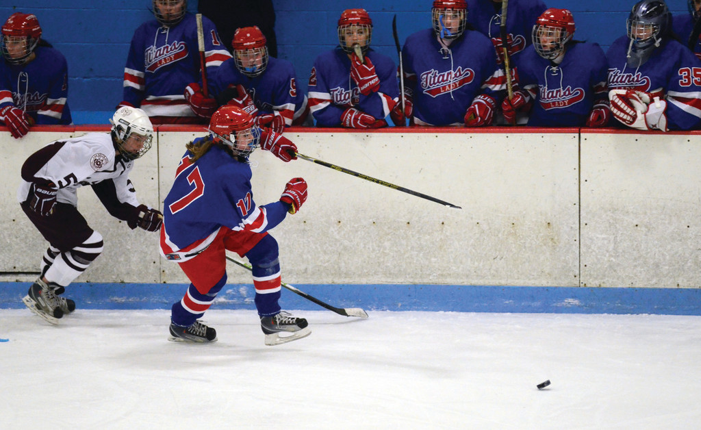 Savannah Hersey chases a loose puck. Ellis and Hersey, both sophomores, will anchor Warwick's defense this season.
