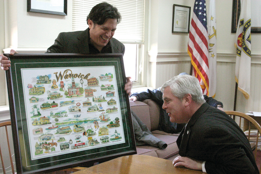 "WARWICK TRIBUTE: Warwick artist Frank Galasso (left) unveils his latest artwork, a photolithograph of more than 25 Warwick businesses and entities, at Warwick City Hall. ""It's great,"" Mayor Scott Avedisian said upon first glance of the piece."