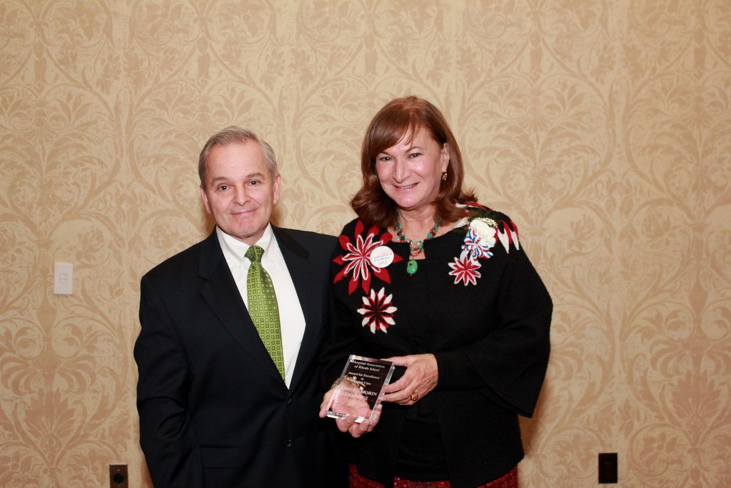 HOSPITAL HERO: Rebecca Morin Lukowicz of Kent Hospital is pictured with Joseph DiPietro, senior vice president and legal counsel at Kent, at the recent Celebration of Excellence in Hospital Care. Lukowicz was named a hospital hero.
