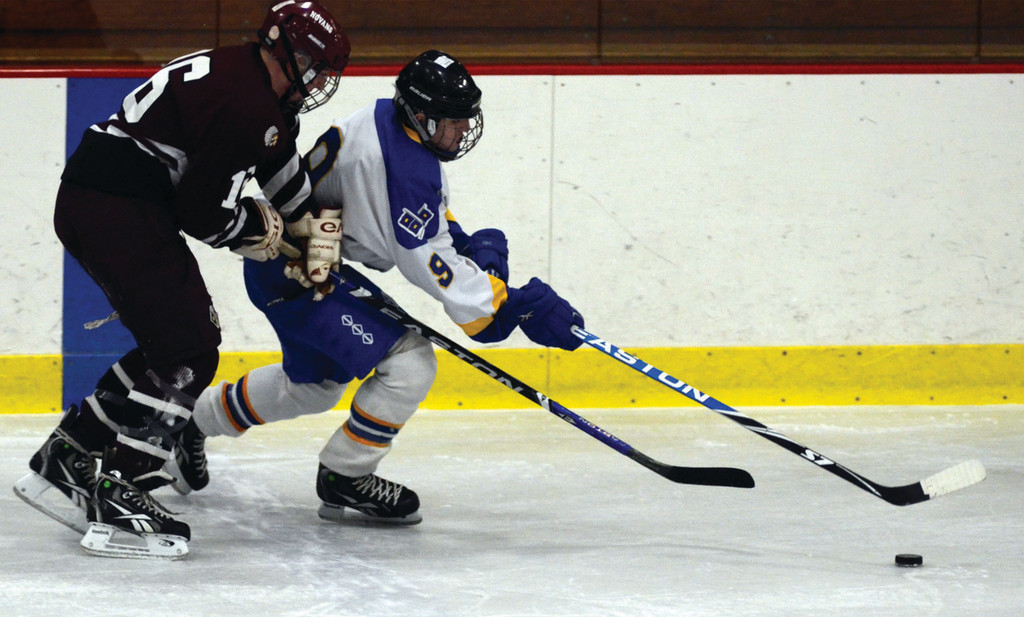 LEADING THE WAY: Senior Bill Burr chases down a puck in a game last year. Burr is part of a deep returning group that has helped restore the Vets program.