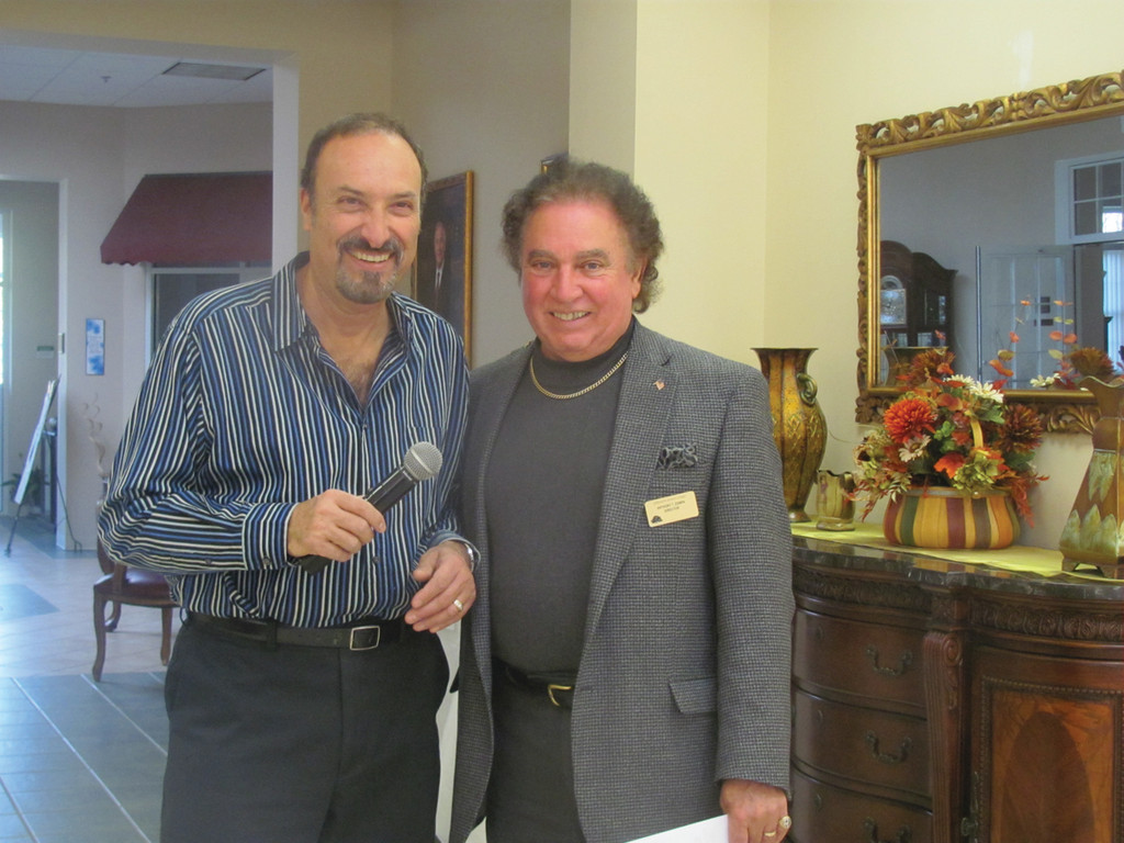 Long-time Rhode Island singer Vini Ames volunteered his talents for the event, much to the delight of Johnston Senior Center Executive Director Tony Zompa.