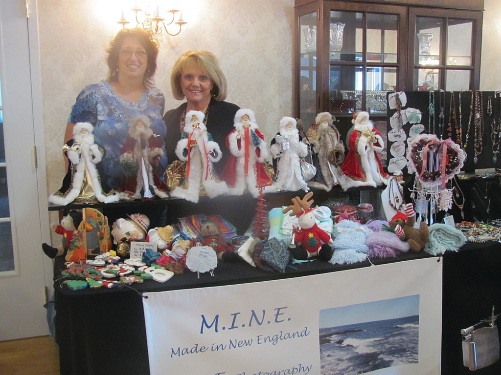 Gayle Raposa of The Bridge at Cherry Hill joins Denise Salisbury at her M.I.N.E. (Made in New England) display.