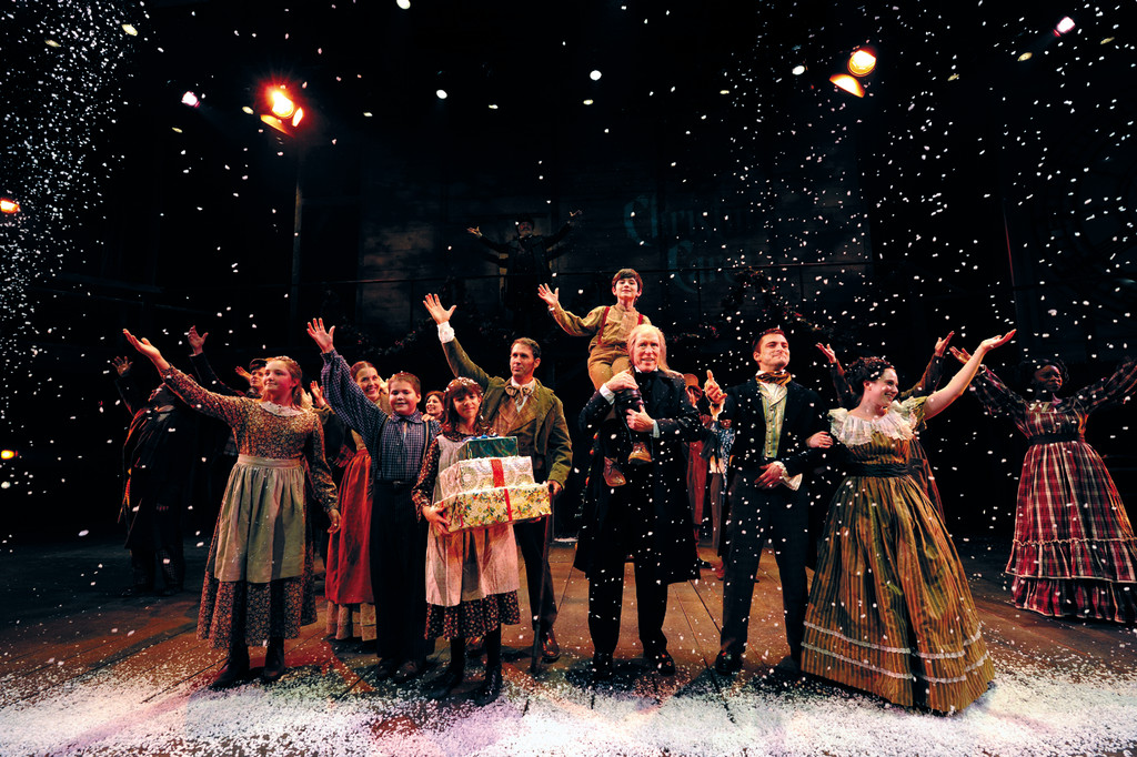 "The cast of the 36th annual production of Charles Dickens' ""A Christmas Carol,"" adapted by Adrian Hall and Richard Cumming, presented by Cardi's Furniture with supporting sponsor Amica Insurance at Trinity Rep, directed by Tyler Dobrowsky, set design by Eugene Lee, costume design by Alison Walker Carrier, lighting by John Ambrosone. Now playing through December 29."