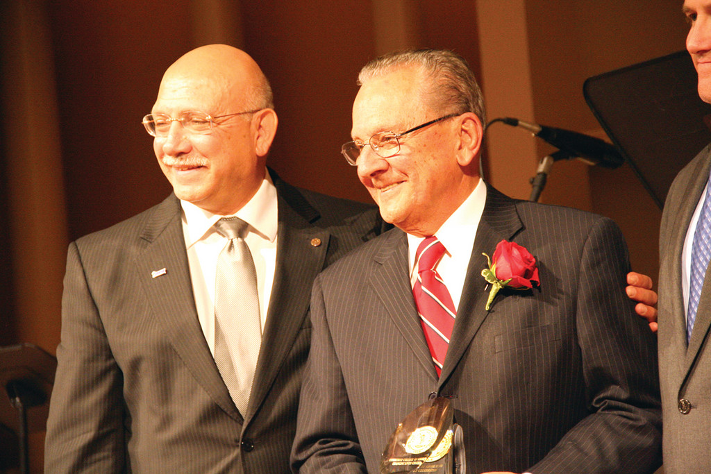 EDUCATION CHAMPION: CCRI President Ray Di Pasquale (left) introduces Frank Caprio to the audience.