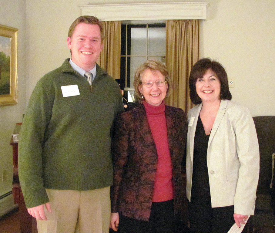 Rhode Island College President Nancy Carriuolo is joined by Eric Handwerger, who Ocean State Sandwich Company in Johnston and North Central Chamber of Commerce President Deborah Ramos.
