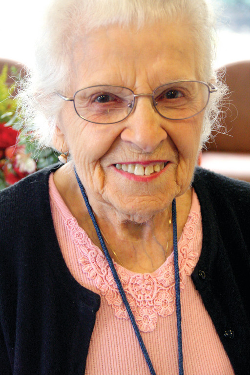 BIRTHDAY GIRL: Mary Poncin, Kent Hospital's official greeter, celebrated her 99th birthday yesterday with fellow Kent employees and close friends.