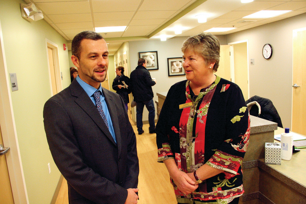 AT OPEN HOUSE: Dr. Olivier Gherardi, medical director and CareWell Urgent Care CEO, and President Renee Lohman at Friday's opening of the Warwick center at 535 Centerville Rd.